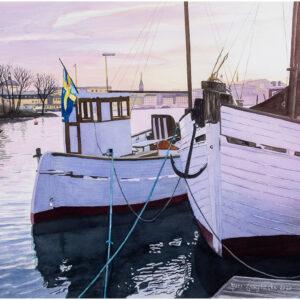 Längs Strandvägen akvarell 46x63cm - Mats Ljungbacke