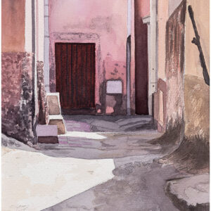 Gränd Bosa Sardinien akvarell 20x29cm - Mats Ljungbacke