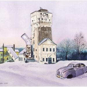 Ställbergs gruva med Saab -92 akvarell 31x43cm - Mats Ljungbacke