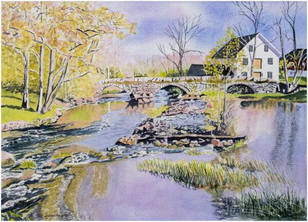 Stenbro om våren akvarell 29x40 - Mats Ljungbacke