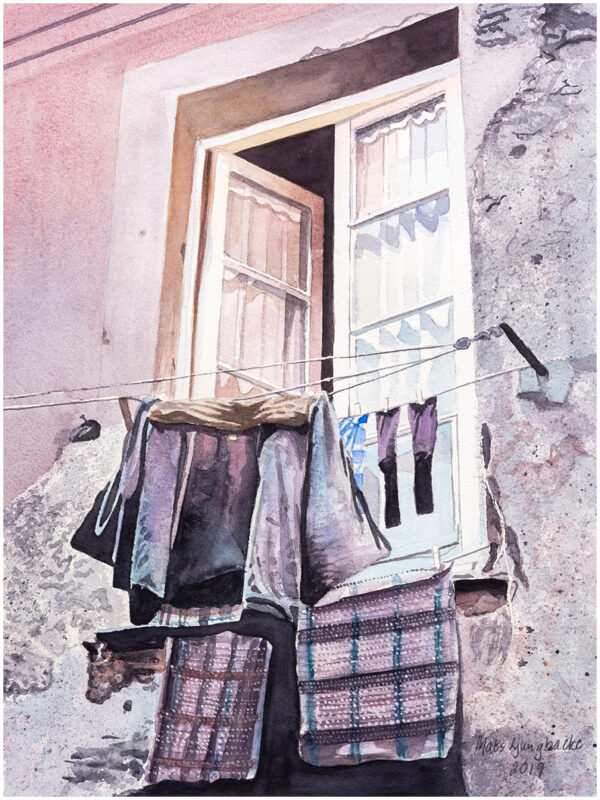 Kläder på tork Korfu akvarell 30x40cm - Mats Ljungbacke