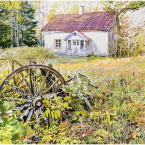 Ödehus med skrinda akvarell 41x58 - Mats Ljungbacke