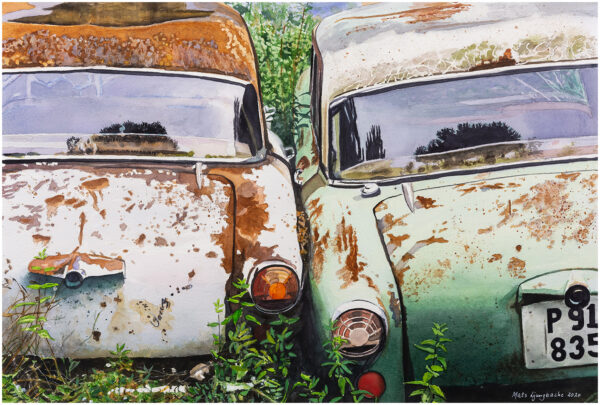 Gammal kärlek rostar aldrig akvarell 40x59cm - Mats Ljungbacke