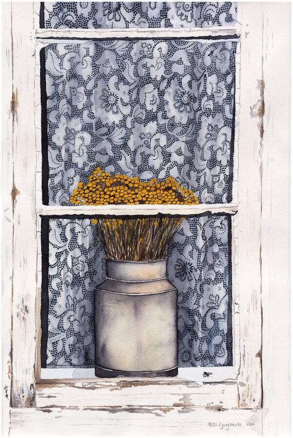 Spetsgardinen akvarell 50x77cm - Mats Ljungbacke