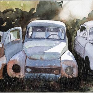 Bilar i motljus akvarell 21x30cm - Mats Ljungbacke