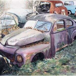 Skrotbilar med PV i motljus akvarell 30x40cm - Mats Ljungbacke