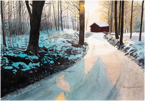 Vinterväg akvarell 41x59cm - Mats Ljungbacke
