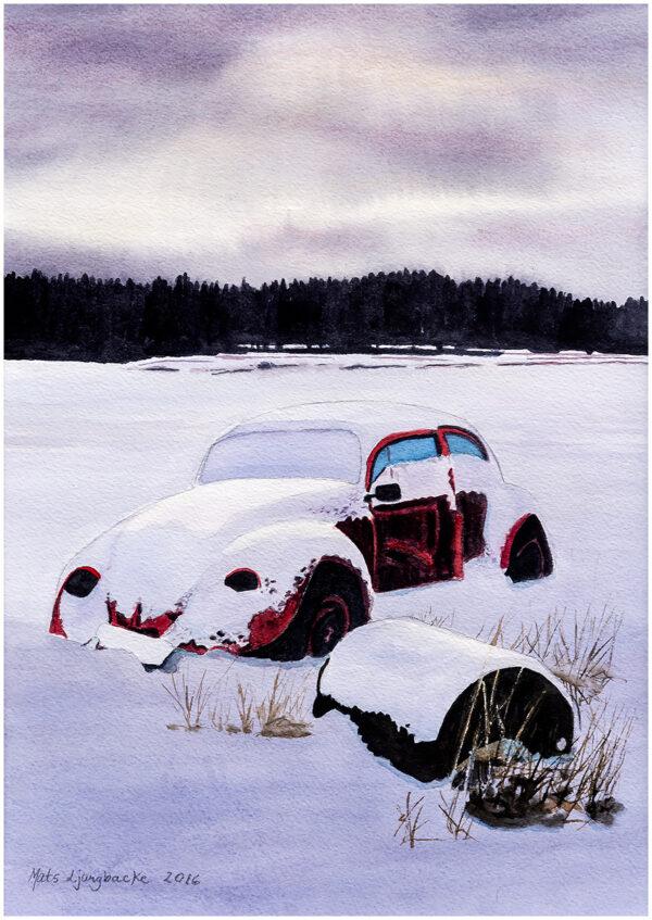 Curts röda folka akvarell - 28x40cm - Mats Ljungbacke
