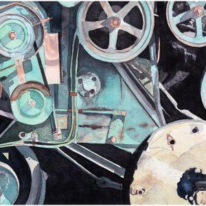 Detalj skördetröska akvarell 44,5x66cm - Mats Ljungbacke