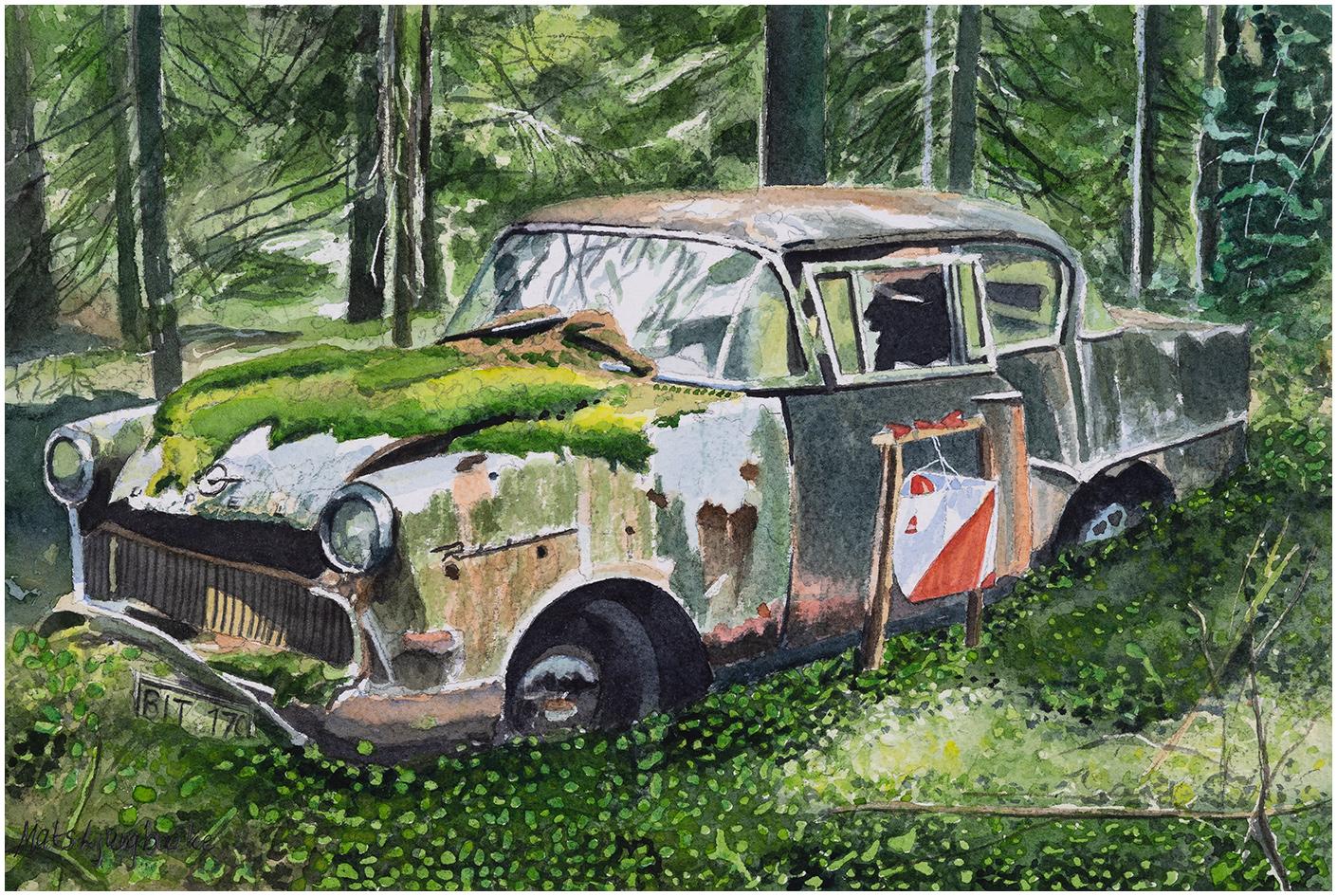 Opel rekord -58 kod 58 akvarell 21x31cm - Mats Ljungbacke